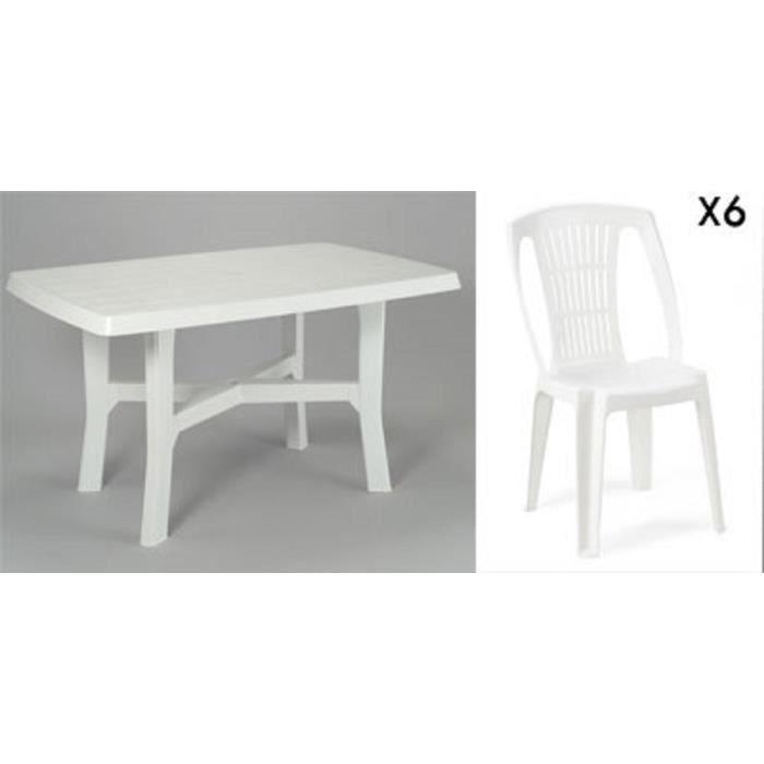 SALON DE JARDIN Table Rectangulaire Blanche 138 Cm 6 Chaises Jar