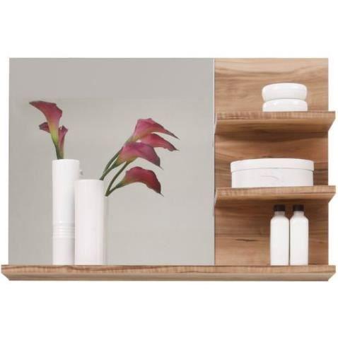 Miroir coloris ch ne clair avec tablette pour salle de for Miroir salle de bain avec etagere