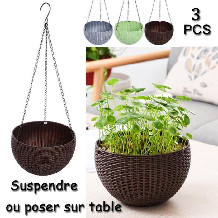 3pcs pot de fleur suspendre exterieur ou int rieur design caf vert argent achat vente. Black Bedroom Furniture Sets. Home Design Ideas