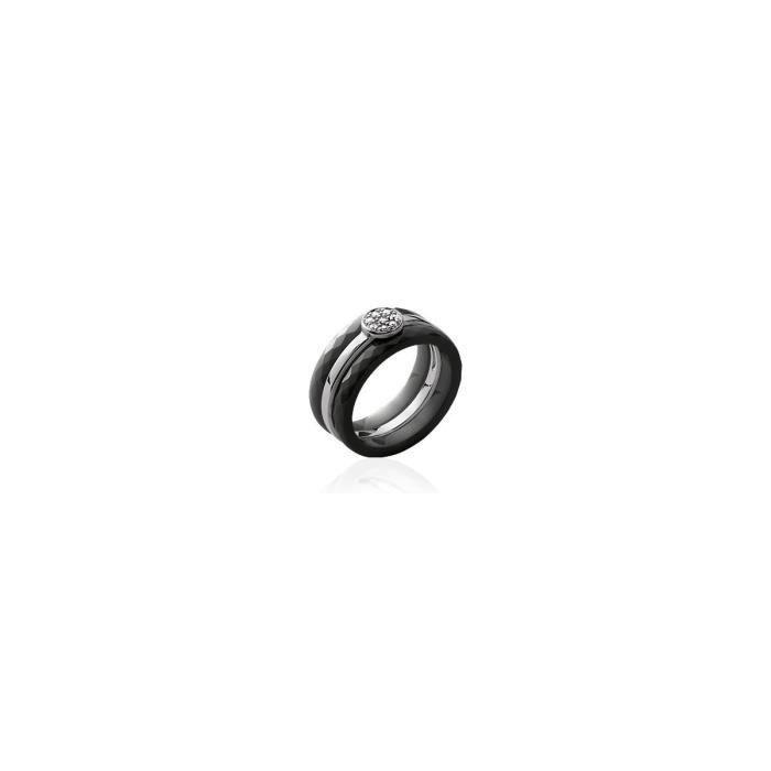 Isady - Eliane Black - bague femme - Argent Sterling 925 - Céramique - Oxydes de zirconium
