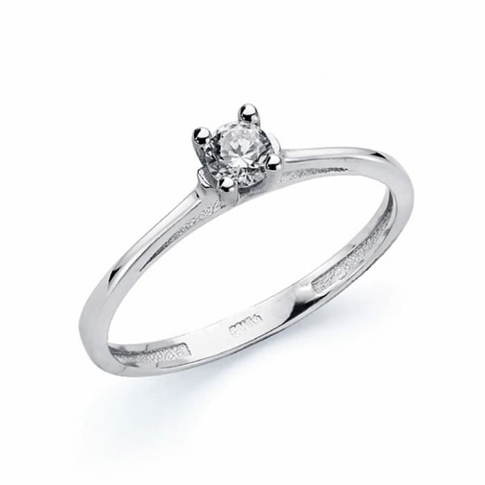Or blanc 18 carats Solitaire zircons 3,5 mm. [AA1654]