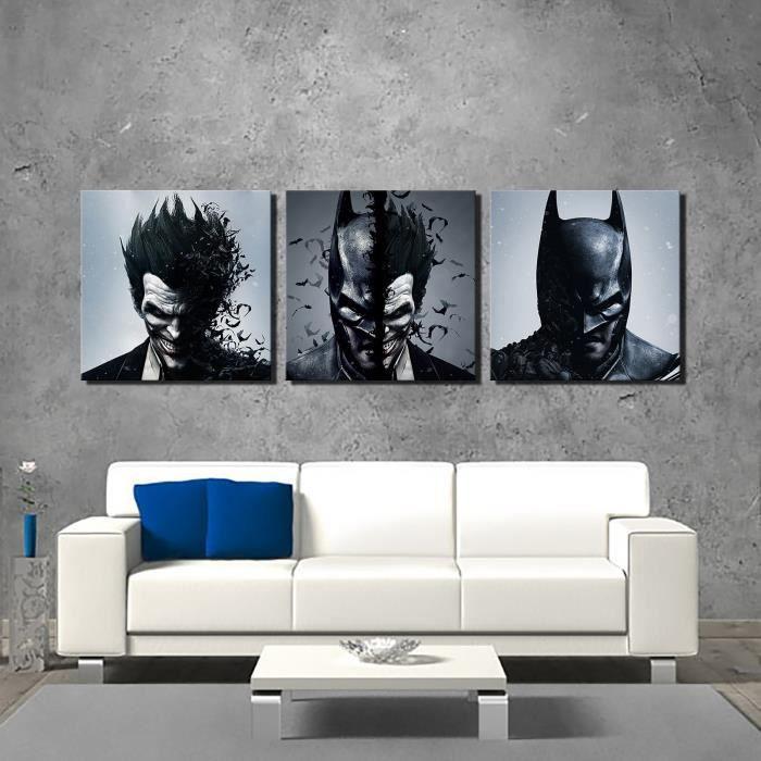Batman Joker 3PCS Poster Home Decor Wall Art Peinture A Lhuile HD Imprimer Tableau Huile Toile Sans Chassis Cadre
