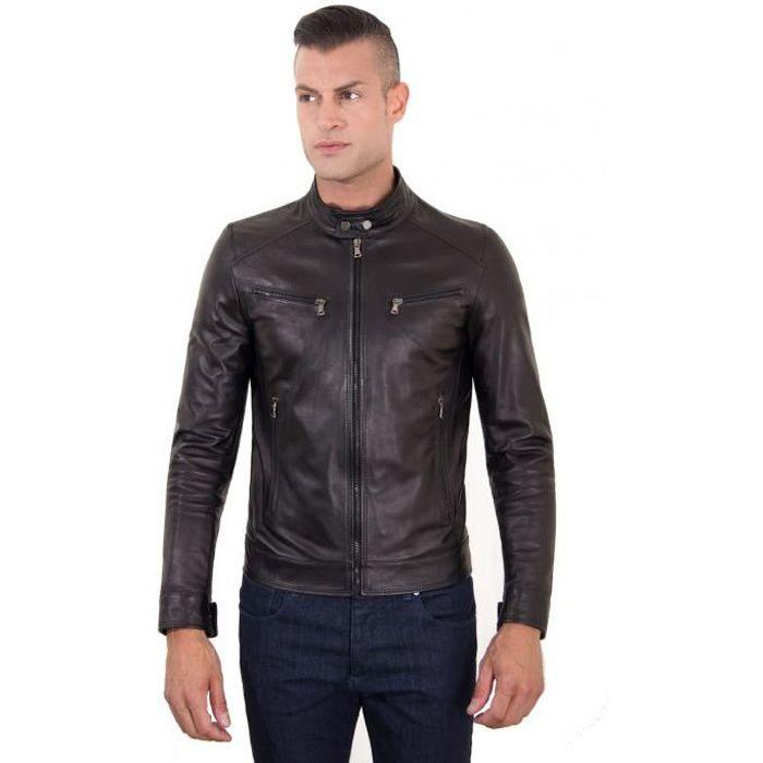 Hamilton Couleur Veste Cuir Style Diving Noir En Hommes Biker wiuZOPkXTl