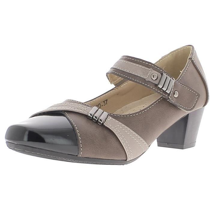 Chaussures femme noires à petits talons de 4,5 cm confortables (41)