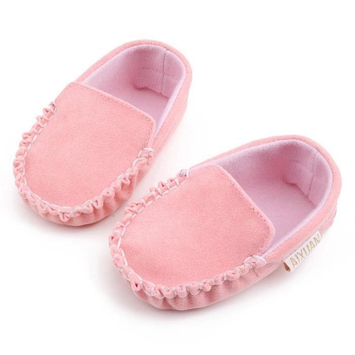 Bébé filles double velours Soft semelle chaussures Soft Shoes Flats chaussures rose