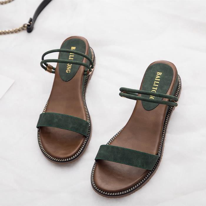 antidrapant chaussures femme De La Fond tudiant t Plage noir Sandale beige Pais Mode Vert qHxXaYY