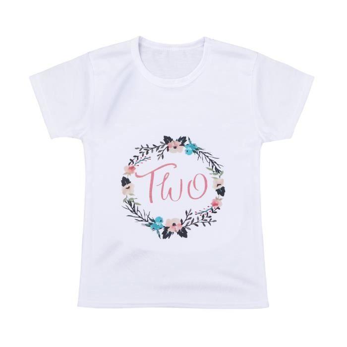 0895a626ab5b2 T-shirt Fille - Manches Courtes Floral Imprimé été - Enfant de 12 ...