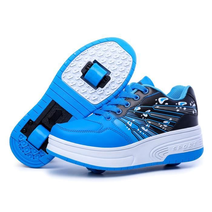 Mode Baskets Enfants Chaussures à Roulettes Garons Filles Sneakers Avec Roues Automatique De Patinage Chaussures Bleu