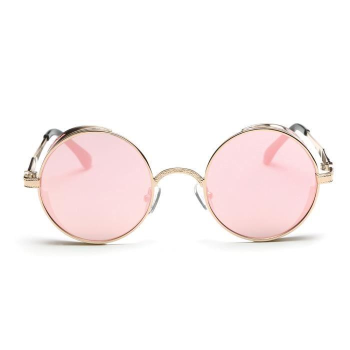 rose hommes dégradé lentille lunettes mode Aviator couleur miroir rond été unisexe Femmes rétro de Vintage BwnWA1q6Xq