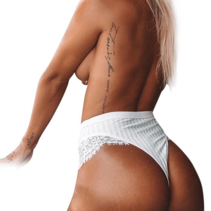 Culotte Slips Blanc Lingerie Femmes Sans Thongs Couture G Dentelle En string Culottes XxRxwq14