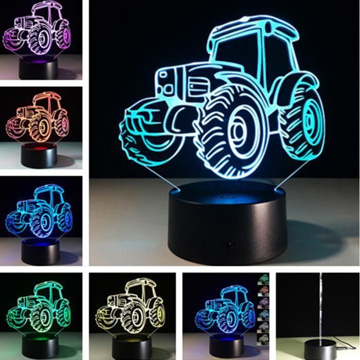Couleur Décoration Lampe Cadeaux Nuit La 3d 7 Tracteur De Changement Chambre Maison Table Tactile Lumière w8FnxZqPBn