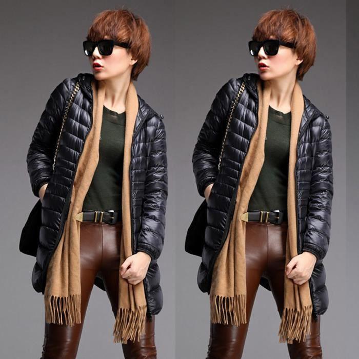 Down noir Manteau Mince Chaud Plus Pardessus Hiver Doudoune Jacket Outwear Taille Mode Femmes RqwY7H8