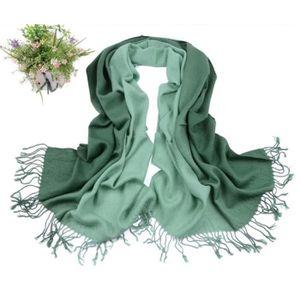ECHARPE - FOULARD Foulard Femme Echarpe Pashmina Dégradé Vert avec F c9d7a74bb8d