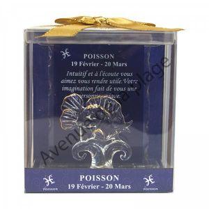 OBJET DÉCORATIF Figurine horoscope Poisson en verre