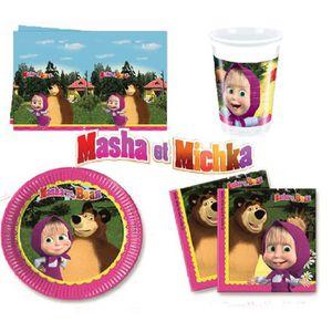 KIT DE DECORATION Kit d'anniversaire de fête complet Masha et Michka