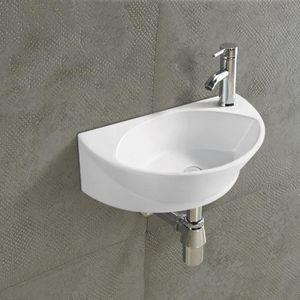 EVIER DE CUISINE Lave Main Ovale, 40x28 cm,Céramique Blanc, Elipse