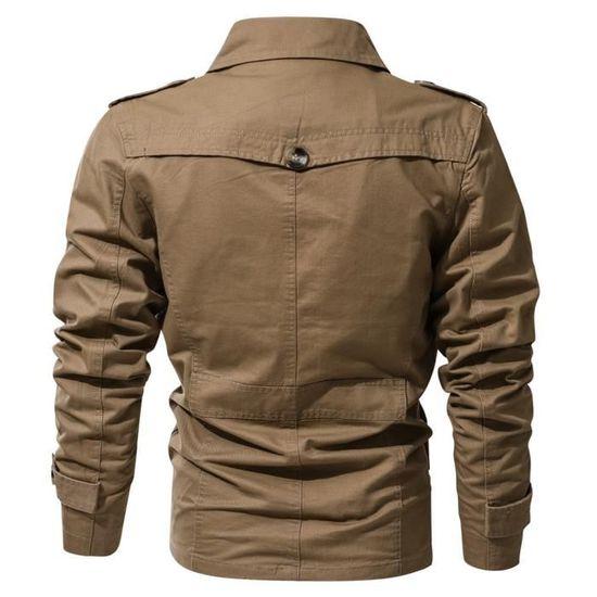 Outwear Veste Poche Vêtements Homme Militaire Bouton Manteau HwxFYq