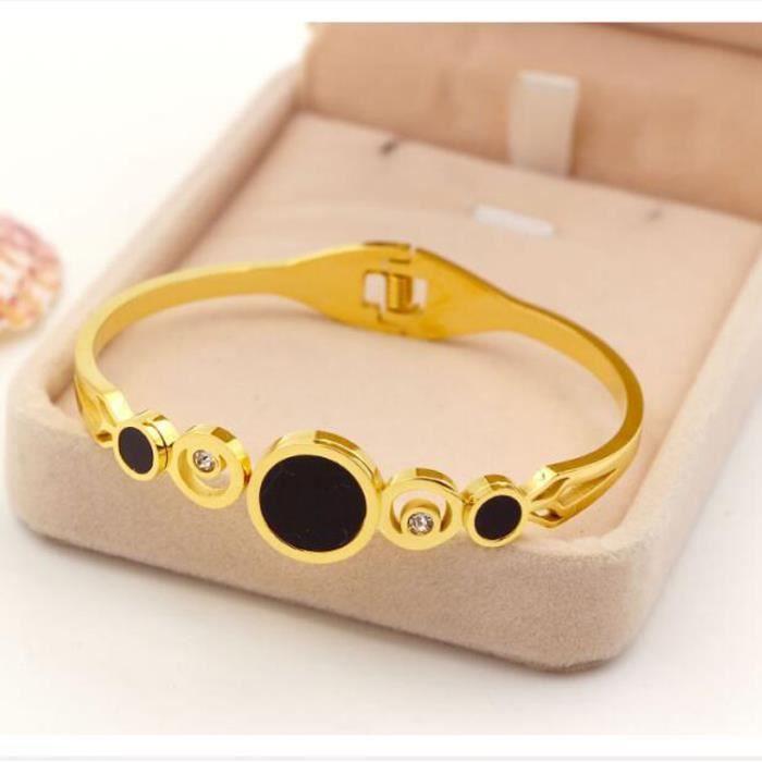 Bracelet Nouveau creux trois double diamant titane acier sauvages accessoires printemps ouverture dames bracelet - cadeau de dames
