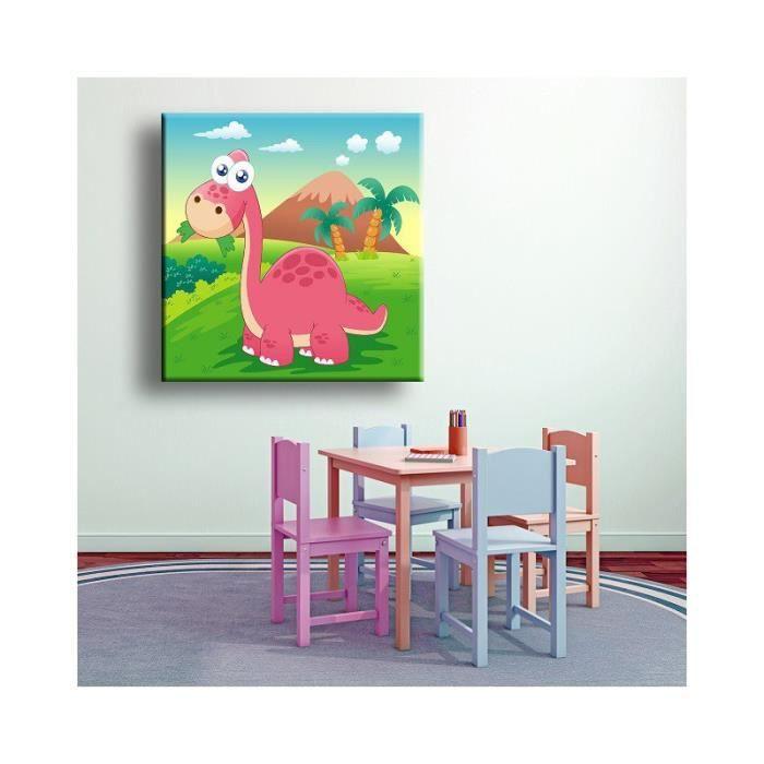 Tableau Eliott le dinosaure rose sens Inverse 80 x 80 cm