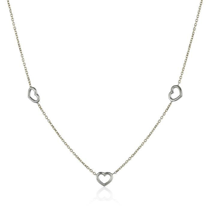 14k Italian White And Yellow Gold Hearts Rolo Necklace, Adjustable 17 To 18 YLN2I