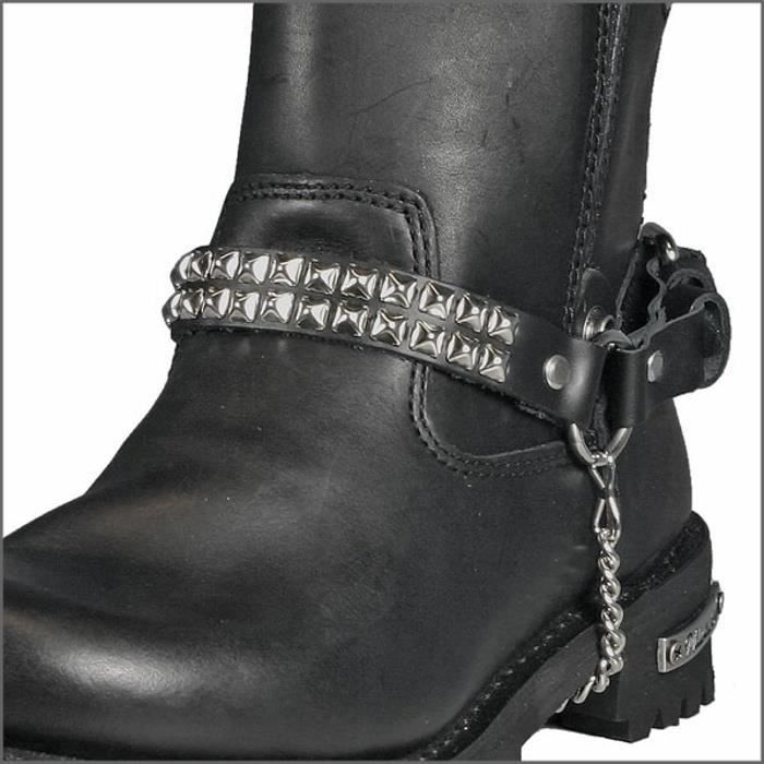 Accessoires Chaussures & Bottes Chain Boot Cuir et Argent Sujet Pyramides4880