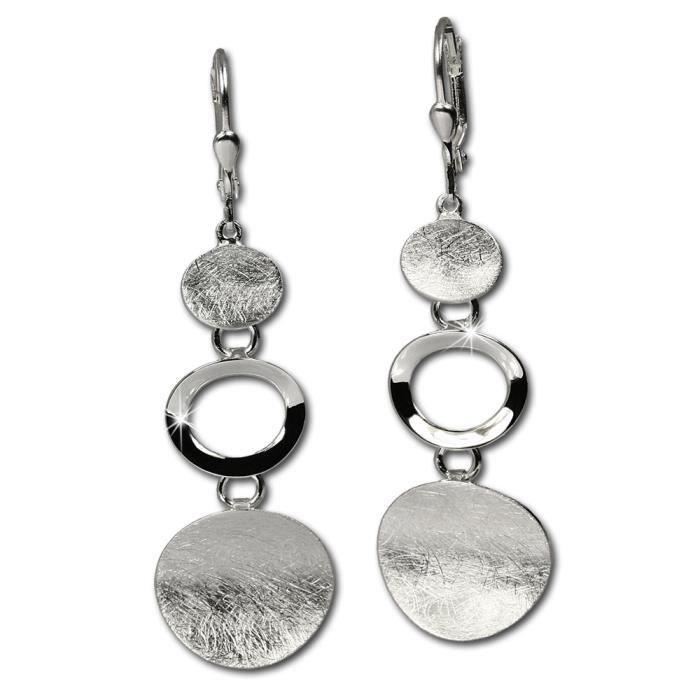 SilberDream Boucles doreilles avec des elements mat en argent - Argent Sterling 925/1000 pour Femme