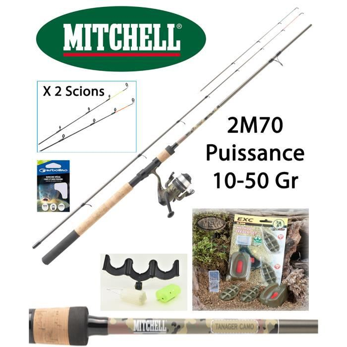 Pack Feeder Mitchell Tanager Camou 2M70 + Moulinet Mitchell Tanager + Accessoires