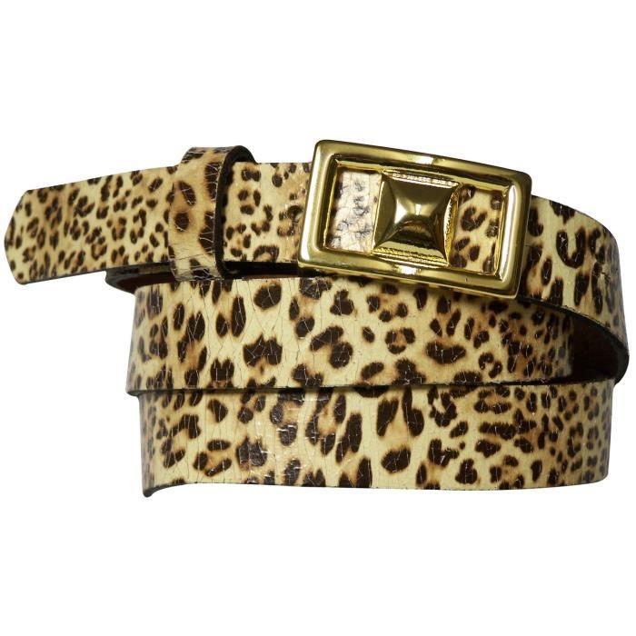 19c81a9dd8df Fine ceinture pour femme à imprimé léopard, ceinture léopard avec une  boucle dorée, ceinture léopard en cuir 17983