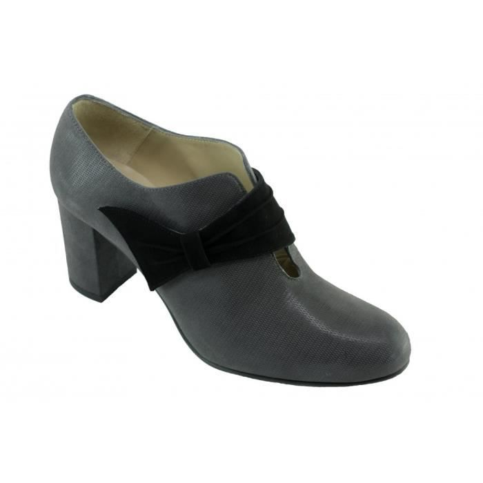 LIDIA - Chaussures Low-boots bout rond patte velcro chaussures femme petite pointure taille marque Angelina cuir noir 2tGRR1