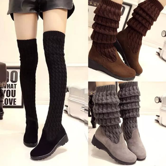 Femmes hiver tricots med cales genou-High chaussures extensible bottes otzCPQf5
