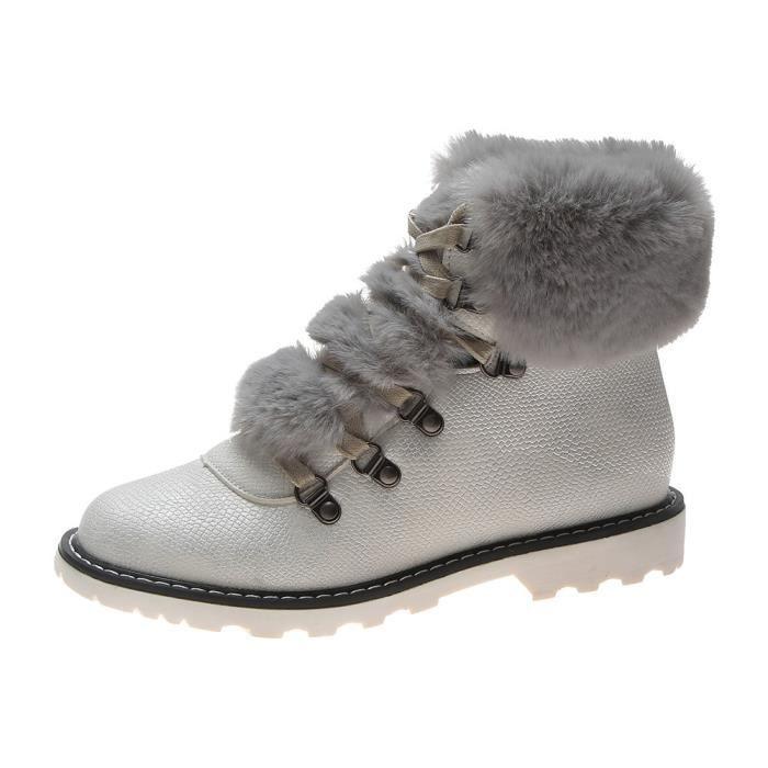 Hiver Bout Femme Casual Chaud Neige Garder Blanc Plat Au Rond En Lacets Chaussures De À Cuir Bottes UEqzqrH0f