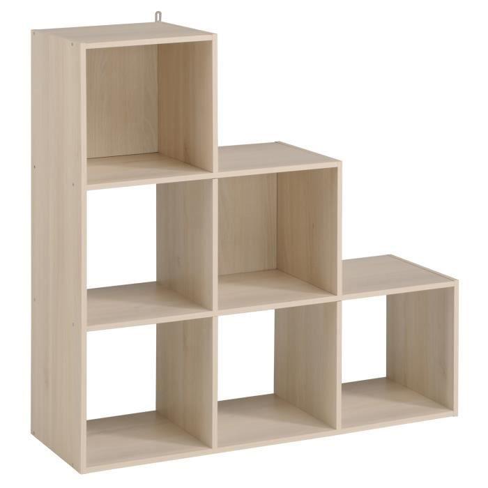 cube de rangement etag re 6 cases d grad coloris acacia l91x h91 x p29 cm achat vente. Black Bedroom Furniture Sets. Home Design Ideas
