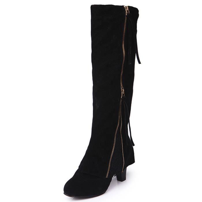 Sidneyki®Femmes Femmes Wedge Buckle Biker Cheville Garniture à talons hauts Zip Lace Bottines Chaussures Noir WE595