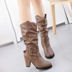 013ce66f1c13 ... CEINTURE ET BOUCLE Chaussures hiver de femme en cuir Bottes à talon C  ...