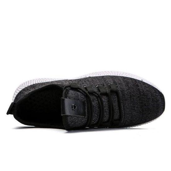 Chaussures DéTente Homme à Lacets Deluxe Plus Fortes Respirant Courir Deluxe Lacets Mesh Extensible Respirant Mode Haute Qualité Noir 39 Noir Noir - Achat / Vente basket e054bd