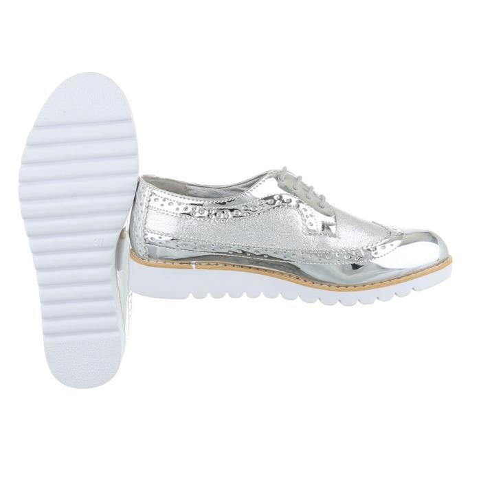 Femme chaussures flâneurs lacer argent 40