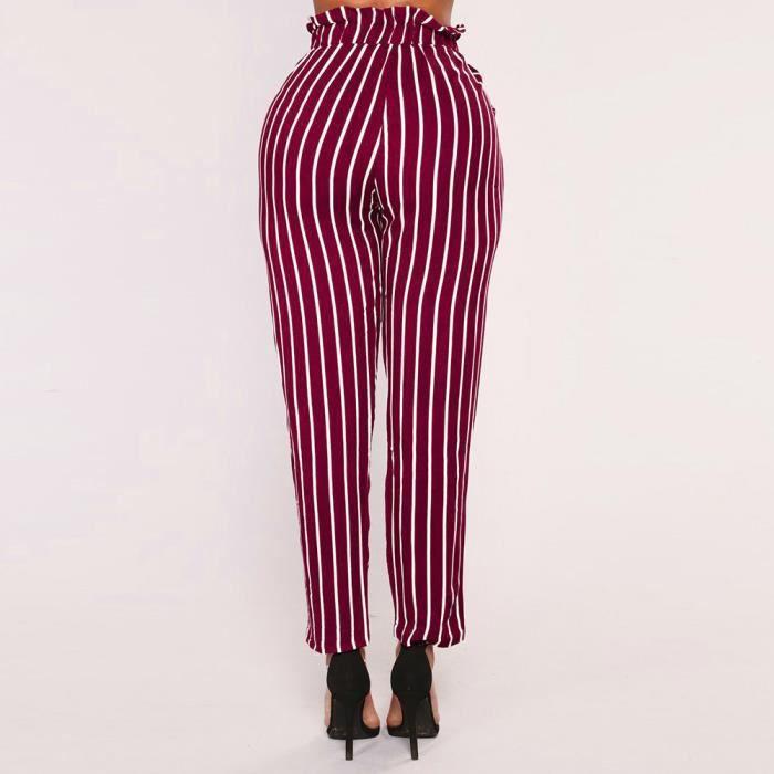 Pantalons À Taille Vin Simpledu Haute Femmes Bowtie Élastique Rayures Sarouel Ra7qqx