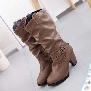 56e0816dfe7f ... CEINTURE ET BOUCLE Chaussures hiver de femme en cuir Bottes à talon C.  ‹›