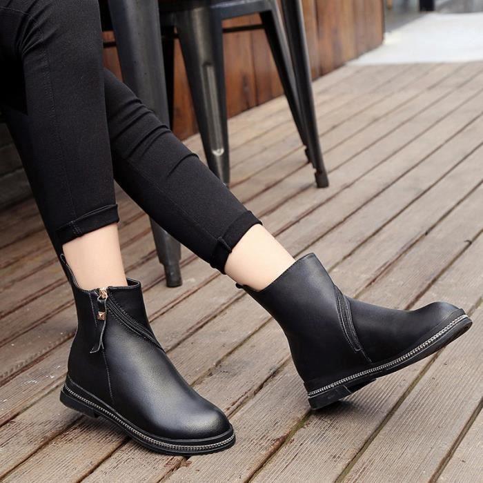 Automne et hiver bottes Martin femmes chaussures vent britannique à fond plat à glissière côté plat avec des bottes simples 2017 pVuJFhxFvZ