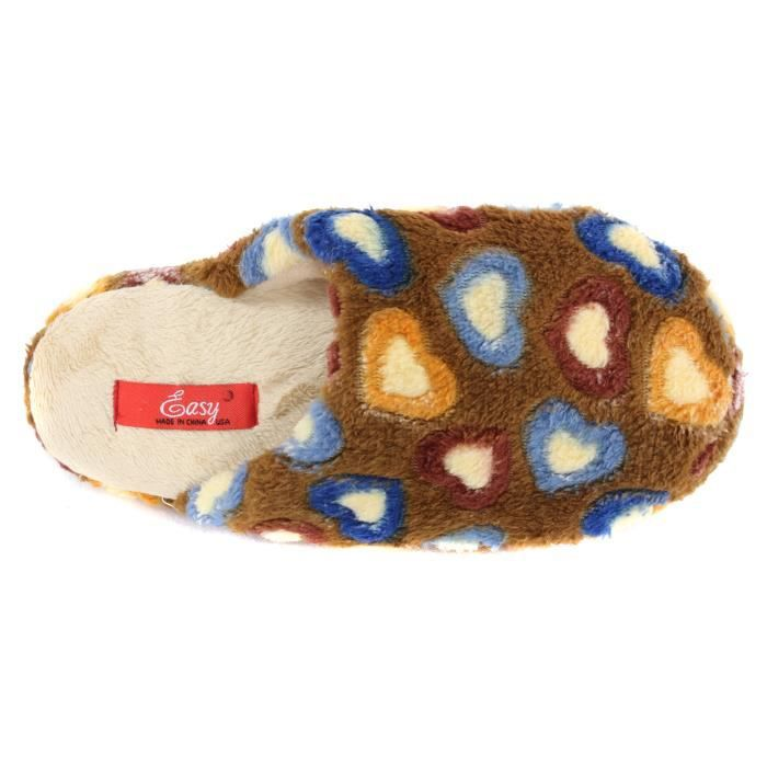 Colorful Hearts Plush Slippers Scuffs FSFCY Taille-L ayPzK