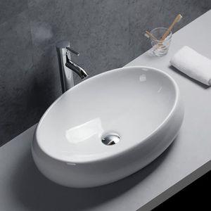 LAVABO - VASQUE Gimify Vasque à Poser en Céramique Blanche Moderne