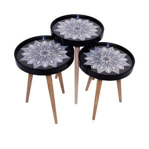 set de table rond noir achat vente pas cher. Black Bedroom Furniture Sets. Home Design Ideas