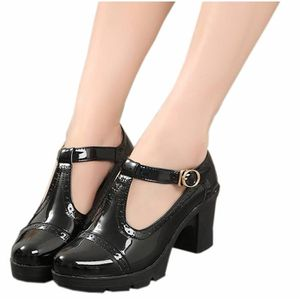 DADAWEN Femme Classic T-Strap Platform Mid-Heel Square Toe Oxfords Dress Chaussure abricot 33 hNChMKb
