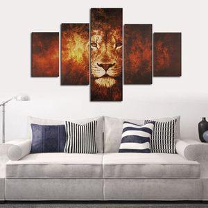 TABLEAU - TOILE TEMPSA 5pcs Tableau Peinture à Huile Lion Toile Sa