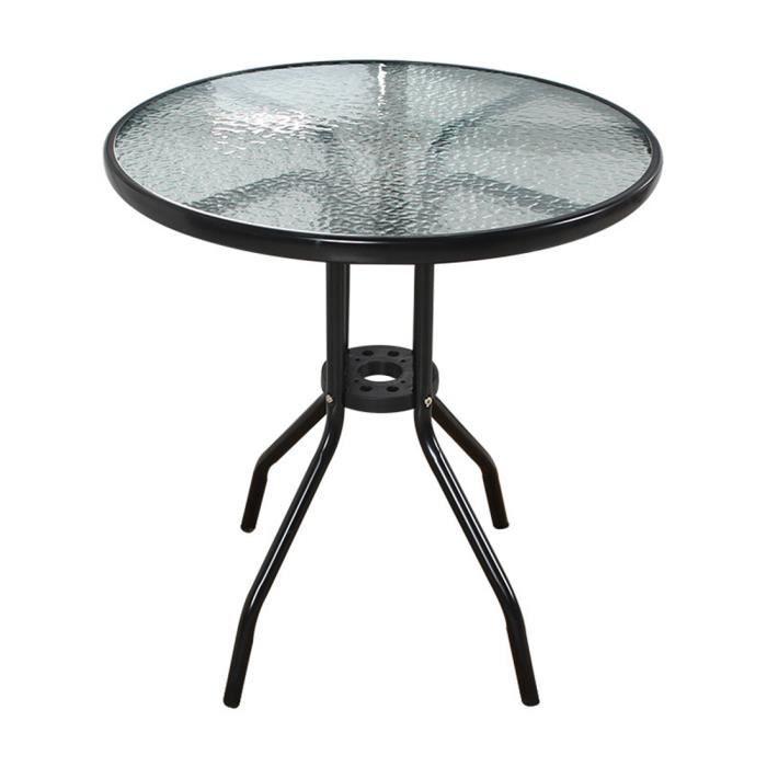 Table de jardin balcon - Table à Café ronde en verre D 60 x H 72 cm