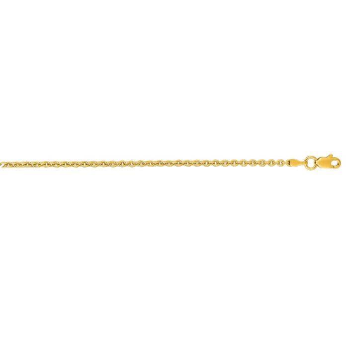 2,3 mm or jaune 14 carats Lite câble chaîne collier-24 cm