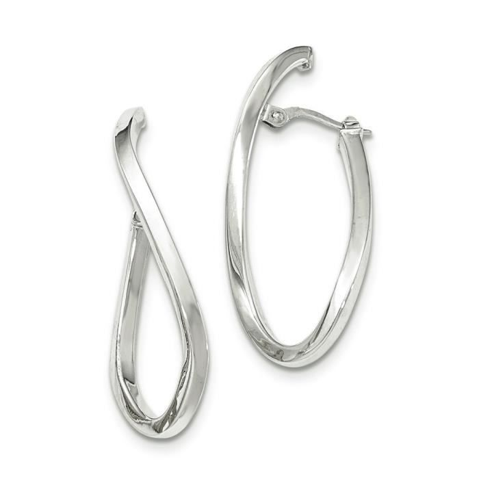 Or blanc poli 14 carats-Post Boucles doreilles ovales