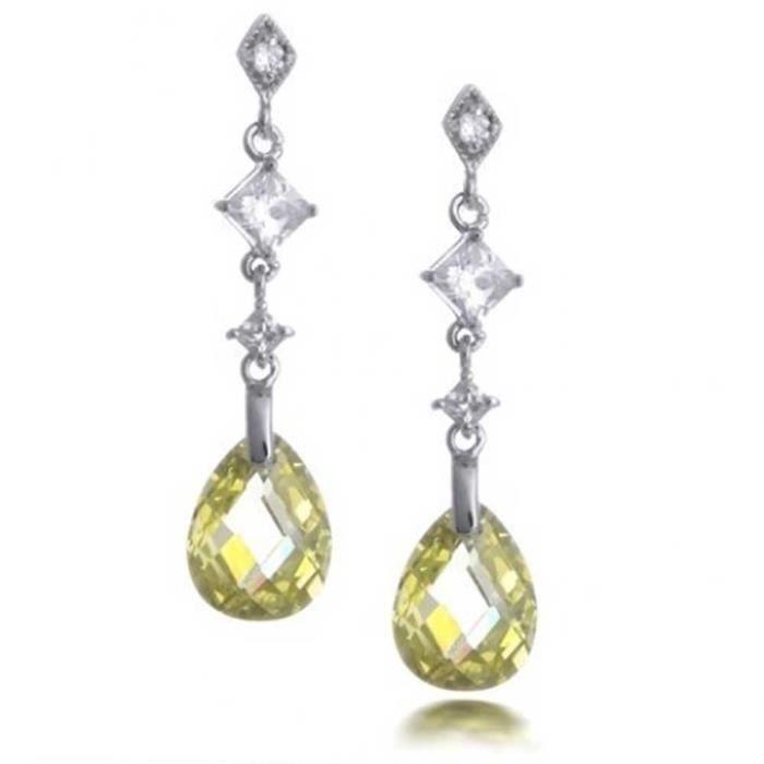 Bling Jewelry Bague argent Citrine simulé à facettes Teardrop CZ Earrings