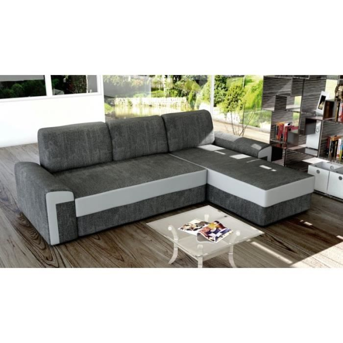 Canape Angle Convertible Petra Tissu Gris 4 Places Angle Droit