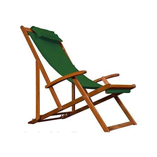 Transat chaise longue en bois d acacia jardin - Achat / Vente chaise ...